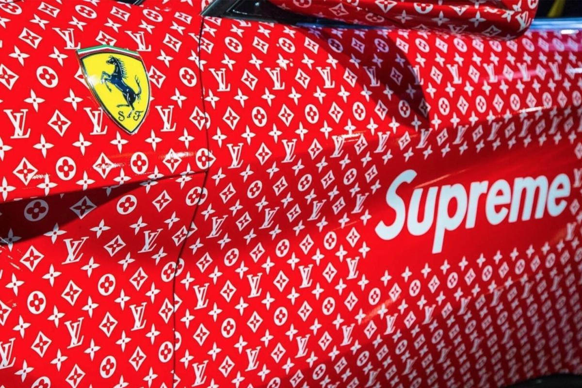 A Ferrari F12 Berlinetta x Supreme x Louis Vuitton está à venda