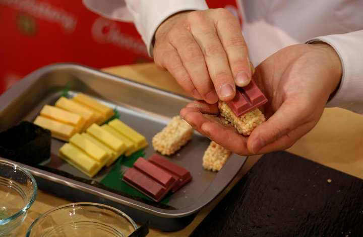 Nestle Japan's sushi-shaped KitKats for the upcoming Valentine's Day celebration are pictured at its Ginza store in Tokyo